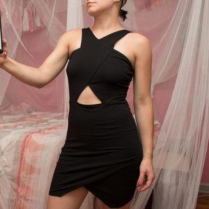 ASOS Petite Bodycon Cutout Black Mini Dress 4P